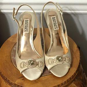 Badgley Mischka sling back satin heels